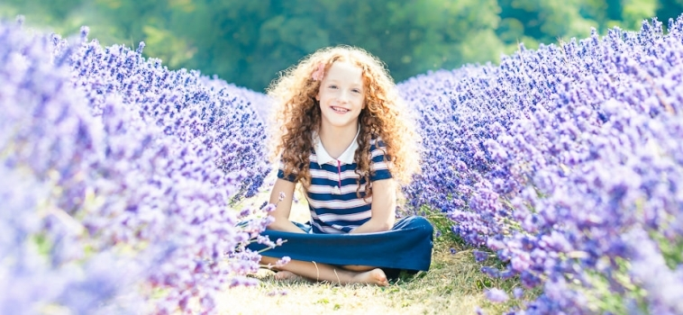 Gorgeous red curls and stunning lavender